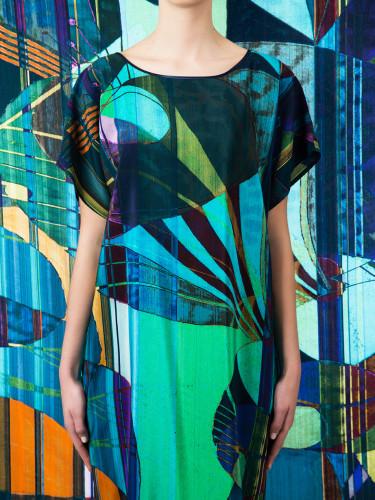 CLASSIC SILK DESIGNER SHIFT DRESS