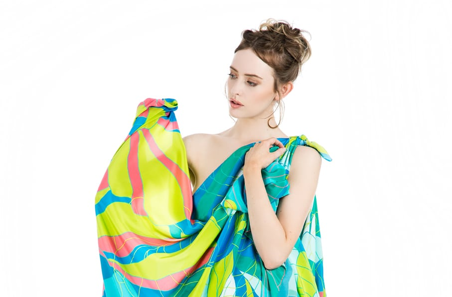 TAISIR GIBREEL LUXURY SILK SCARF MADE IN THE UK