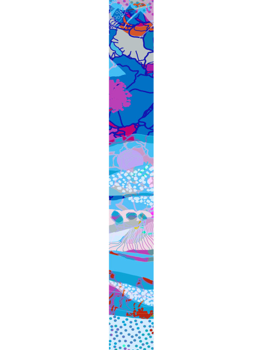 LUXURY SILK SCARF SILVER DEW CHAOS 20cm x 175cm | TAISIR GIBREEL