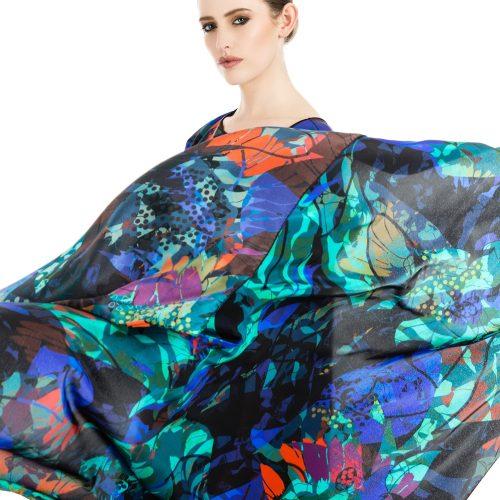 LUXURY SILK DRESS SILVER DEW MIDNIGHT LIFETSYLE | TAISIR GIBREEL