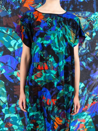LUXURY SILK DRESS SILVER DEW MIDNIGHT PRINT | TAISIR GIBREEL