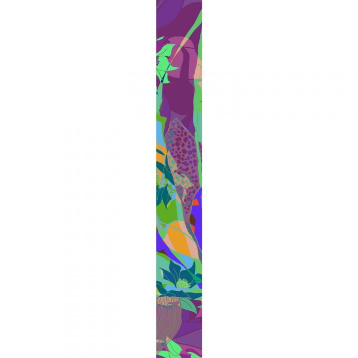 LUXURY SILK SCARF MOODY LICH MUSE 20cm x 175cm | TAISIR GIBREEL