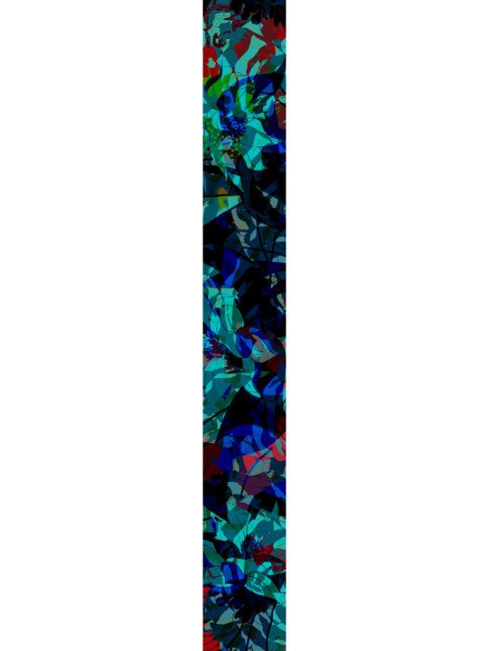 LUXURY SILK SCARF SILVER DEW MIDNIGHT 20cm x 175cm | TAISIR GIBREEL