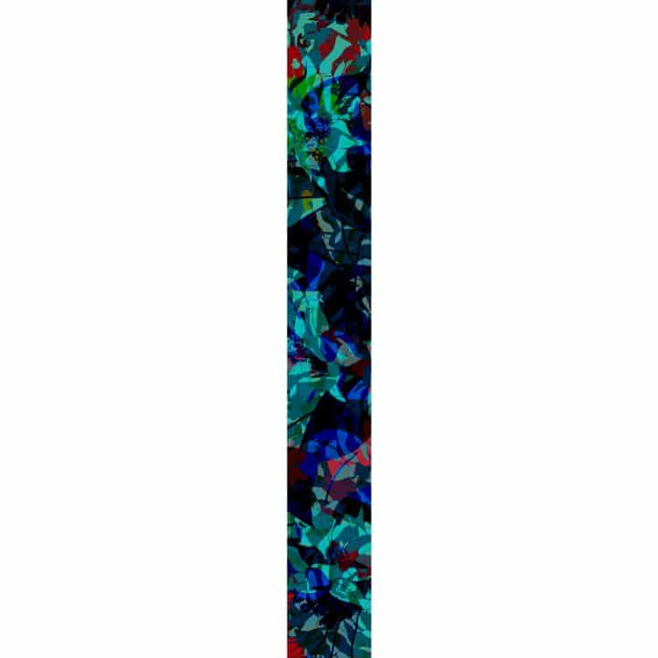 LUXURY SILK SCARF SILVER DEW MIDNIGHT 20cm x 175cm   TAISIR GIBREEL