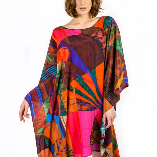 LUXURY SILK KAFTAN WERMILLION SCOTCH MAGIC | TAISIR GIBREEL
