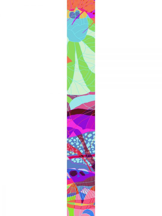LUXURY SILK SCARF MUNRO BLOSSOM RAINBOW 20cm x 175cm | TAISIR GIBREEL